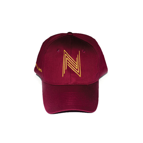 """Wine Red x Gold Hat""3"
